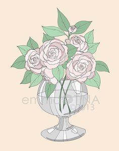 Blush Roses Decorative Illustration Art Print by emmakisstina