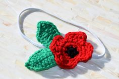 White Elastic Headband with Red Crochet by MichaelPoppyProject