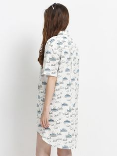 Buy White Contrast Cartoon Print Dip Back Shirt Dress from abaday.com, FREE shipping Worldwide - Fashion Clothing, Latest Street Fashion At Abaday.com