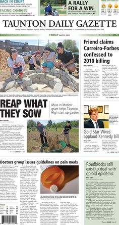 The front page of the Taunton Daily Gazette for Friday, May 22, 2015.