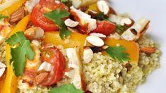 Salade au Halloumi Halloumi, Samosas, Sauce A Fondue, Mets, Salad Dressing, Ketchup, Cobb Salad, Grains, Salads