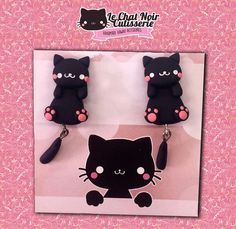 Kawaii Earrings Cat Stud, black cute cat jewelry gift, kitten stud for cat lover, polymer clay handmade Cat Jewelry, Jewelry Gifts, The Face, Cute Earrings, Me As A Girlfriend, Cat Lovers, Sunglasses Case, Stuff To Do, Polymer Clay