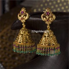 Indian Jewellery Designs: Traditional Antique Peacock Jhumkas