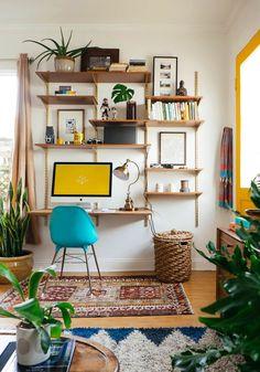 My Small Living Room Makeover for West Elm - Home Professional Decoration Living Pequeños, Small Living, Living Room Decor, Living Spaces, Room Decor Boho, Living Rooms, Desk In Living Room, Boho Room, Bohemian Decor