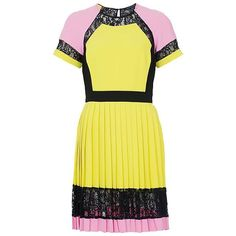 Embrace the colour-block trend with this vibrant short-sleeved dress with panels and lace trims. Featuring round neckline with centre back button and rouleau loop, cut-out detail, pleated skirt and invisible centre back zip with hook and eye fastening.
