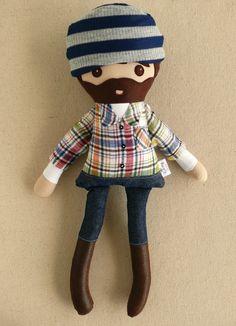Fabric Doll Rag Doll Bearded Man in Plaid Flannel by rovingovine