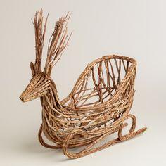 """Natural Fiber Deer Basket   World Market Dimentions: basket part is 5""""wide x 5""""deep x 11""""high."""