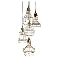 Bring eye-catching style to your living room d�cor with this chic design, artfully pairing organic charm and lasting allure.  Product: Pendant lamp  Construction Material: Iron  Color: Gold     Features: Five wire pendants suspended at various heights Accommodates:  (5) 40 Watt filament bulbs - not includedDimensions: 65 H x 10 Diameter