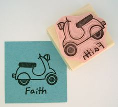 Scooter Hand Carved Rubber Stamp