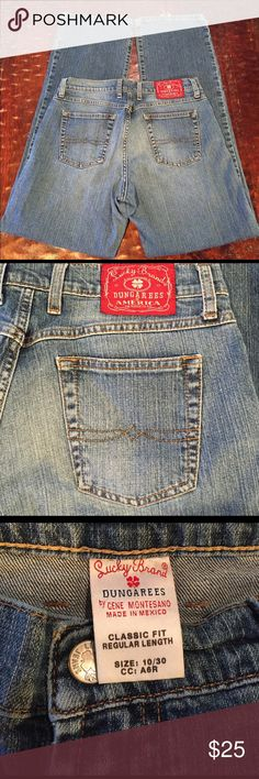 """Lucky Brand Classic Fit Regular Length Size 10/30 Lucky Brand Classic Fit Regular Length Size 10/30. Jean has a 32"""" inseam. Jean is in great condition. Back hems do have fraying, which is visible in pics. Comes from a Smoke Free/Pet Friendly home. Offers always welcome. Lucky Brand Jeans Boot Cut"""