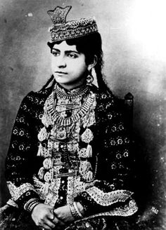 ..Qajar Woman with braids ..historical costumes of Iran