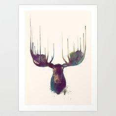 Moose Art Print by Amy Hamilton - www.society6.com