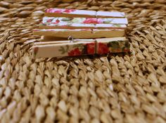Wooden peg floral vintage print memo board by BearDogAndMe on Etsy