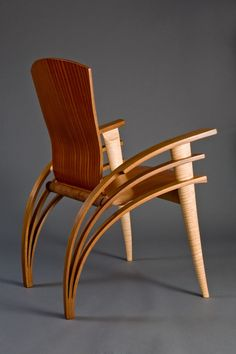 furniture chair Back view of Trimerous chair made from walnut, maple and sapele wood by Seth Rolland custom furniture design Bedroom Furniture Design, Home Decor Furniture, Unique Furniture, Custom Furniture, Furniture Dolly, Furniture Stores, Contemporary Furniture, Luxury Furniture, Futuristic Furniture