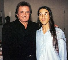 Johnny Cash and Anthony Kiedis. The look on Anthony's face is priceless. Sheer fanboying.