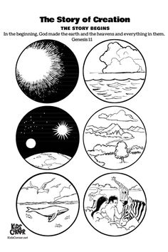 Religionsunterricht Genesis the story of creation free printable Bible coloring pages Earth Coloring Pages, Creation Coloring Pages, Free Bible Coloring Pages, Kids Coloring, Printable Coloring, Adult Coloring, Coloring Books, Creation Bible Crafts, Bible Story Crafts