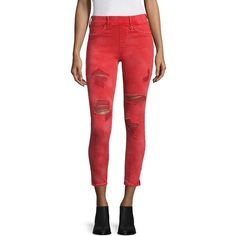 True Religion Runway Distressed Leggings ($127) ❤ liked on Polyvore featuring pants, leggings, ruby red, distressed pants, pull on pants, wide-waistband leggings, red leggings and legging pants