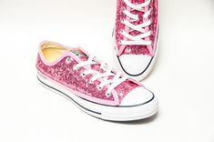 0f903fbd8bb3 Tiny Sequin - Starlight Blush Baby Pink Canvas Custom Converse® Low Top  Sneakers Shoes by. Etsy