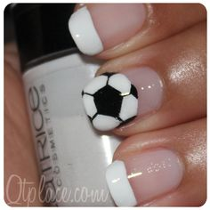 soccer nail designs - For when my husband starts to play in the summer time! Gotta represent for him :)