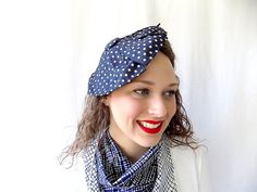 Vintage Fascinator Tilt Hat in Navy with Silver by EyeSpyGoods