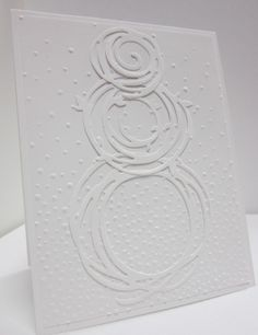 handmade winter card ... white on white ... Swirly Snowman in a Snow Storm ... luv it!