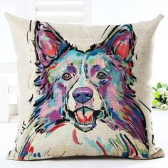 Painted Dog Print Accent Cushion Covers #OilPaintingDog