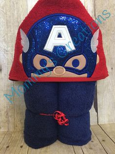 """Stack Stack American Hero Applique Hooded Bath, Beach Towel Cover Up 30"""" x 54""""  Personalization Available by MommysCraftCreations on Etsy"""