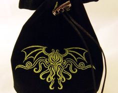 Black Velvet Dice Bag with Cthulhu Dice Bag, Cthulhu, Embroidery Ideas, Dungeons And Dragons, Black Velvet, Weird, Cross Stitch, Times, Sewing