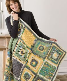 Triple texture crochet throw - free pattern from Redheart.