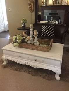 High Quality White Chalk Paint Coffee Table Rustic Furniture By FarmHouseFare