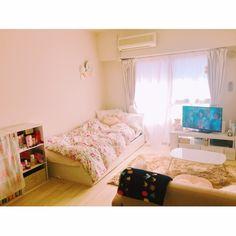 mayuuuさんの、部屋全体,ソファ,一人暮らし,Francfranc,1人暮らし,フランフラン,White,クッションフロア,白が好き,1K,コンパクトソファ,のお部屋写真