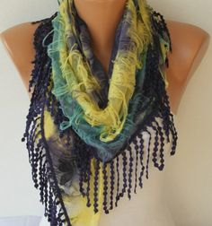 Purple Multicolor Scarf   Cowl with Lace Edge by by fatwoman, $17.00