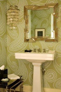 Wallpaper, pedestal sink