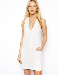 Asos Shift Dress In Texture With Pockets - White on shopstyle.com