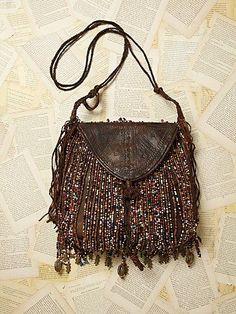 Free People Vintage Nigerian Leather Beaded Bag