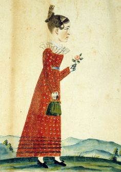 "Folk art portraits silhouette ""Portrait of a Young Woman"" by Jacob Maentel, North America, 1815-1840. Graphite, Watercolor; Paper (wove), Drawn, Hand coloured.  Winterthur Museum"