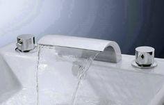Yanksmart Widespread 3 Pcs Tap 2 Handle Waterfall Bathroom Basin Sink Bathtub Mixer Faucet , Chrome Finish Ys-9147
