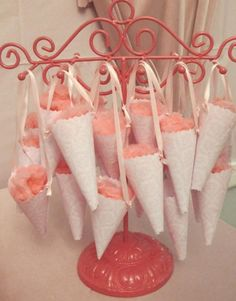 Cotton candy cones make great favours for outdoor summer weddings.     Images and styling by Amy Oren at Blowout Party