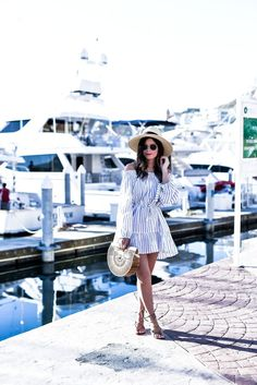 Loving this stripped dress for vacation, click to shop the look! | Houston fashion blogger, Cabo San Lucas, Stripped dress, Outfit ideas for spring 2017, Cabo San Lucas travel,summer outfits, stripes l