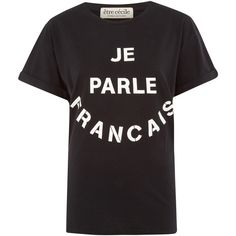 Être Cécile Black Oversized Je Parle Francais T-Shirt ($110) ❤ liked on Polyvore featuring tops, t-shirts, crew neck t shirt, loose tee, cotton tee, black tee and black top