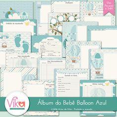 Miolo para Álbum do Bebê Balloon Azul by Vika Matos