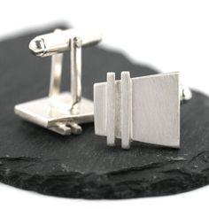 Handmade Silver Deco Pinstripe Cufflinks . . . . . der Blog für den Gentleman - www.thegentlemanclub.de/blog