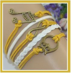 $5.50 Yellow & White Multi Layered Wrap Bracelet with Infinity Owl & Music Note Charms - Bracelets Perfect Christmas Gifts for her!!