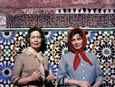 women, tile wall