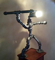 Spartan Iron Pipe Spear throw Lamp by PiccadillyCrossing on Etsy
