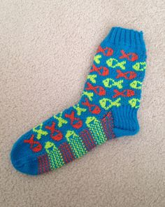 Just finished first sock of my next pair of FISH SOCKS~ love them!