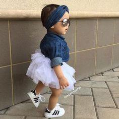"Dalary Sophia® on Instagram: ""Little Trendsetter!!! This @kardashiankids Collection is so amazing it's fabulous! We love it Jean headband: @kardashiankids Ombré jean shirt: @kardashiankids White tutu skirt: @kardashiankids Shoes: @adidasoriginals"