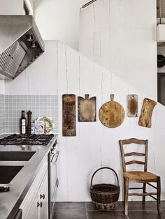 Chopping boards on the wall