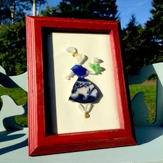 Genuine Sea Glass, Sea Glass Mosaic, Sea Pottery, Girl with Flower, Sea Glass Art, Baby Shower Gift, Cottage Chic by Red Island Sea Glass on Etsy