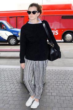 Emma Watson Wears Pajama Pants To The Airport, Looks Chic Anyways
